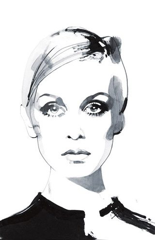 David Downton twiggy David Downton : Fabulous Fashion Illustrations