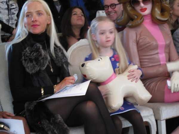 Pandemonias Dog  Snowy Little girl steals Pandemonias dog Snowy at London Fashion Week
